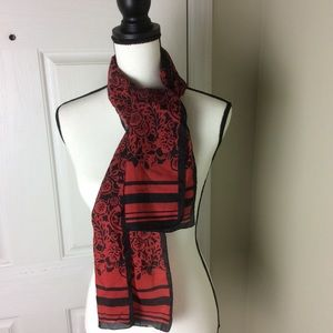 Red and black silk scarf